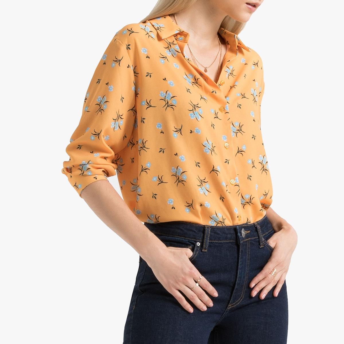 Блузка La Redoute С цветочным рисунком и длинными рукавами 36 (FR) - 42 (RUS) желтый