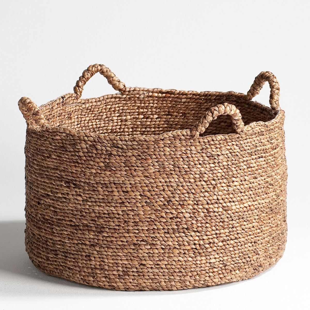 Круглая плетеная корзина В37 см, RagaКруглая плетеная корзина Raga. Красивая корзина подходит как для хранения журналов в гостиной, так и для игрушек в спальне.          Характеристики :- Из мягких плетеных волокон эйхорнии.     - 4 ручки.     - Ручная работа.          Размеры :- ?50 x В.37 см..<br><br>Цвет: серо-бежевый<br>Размер: 50x37