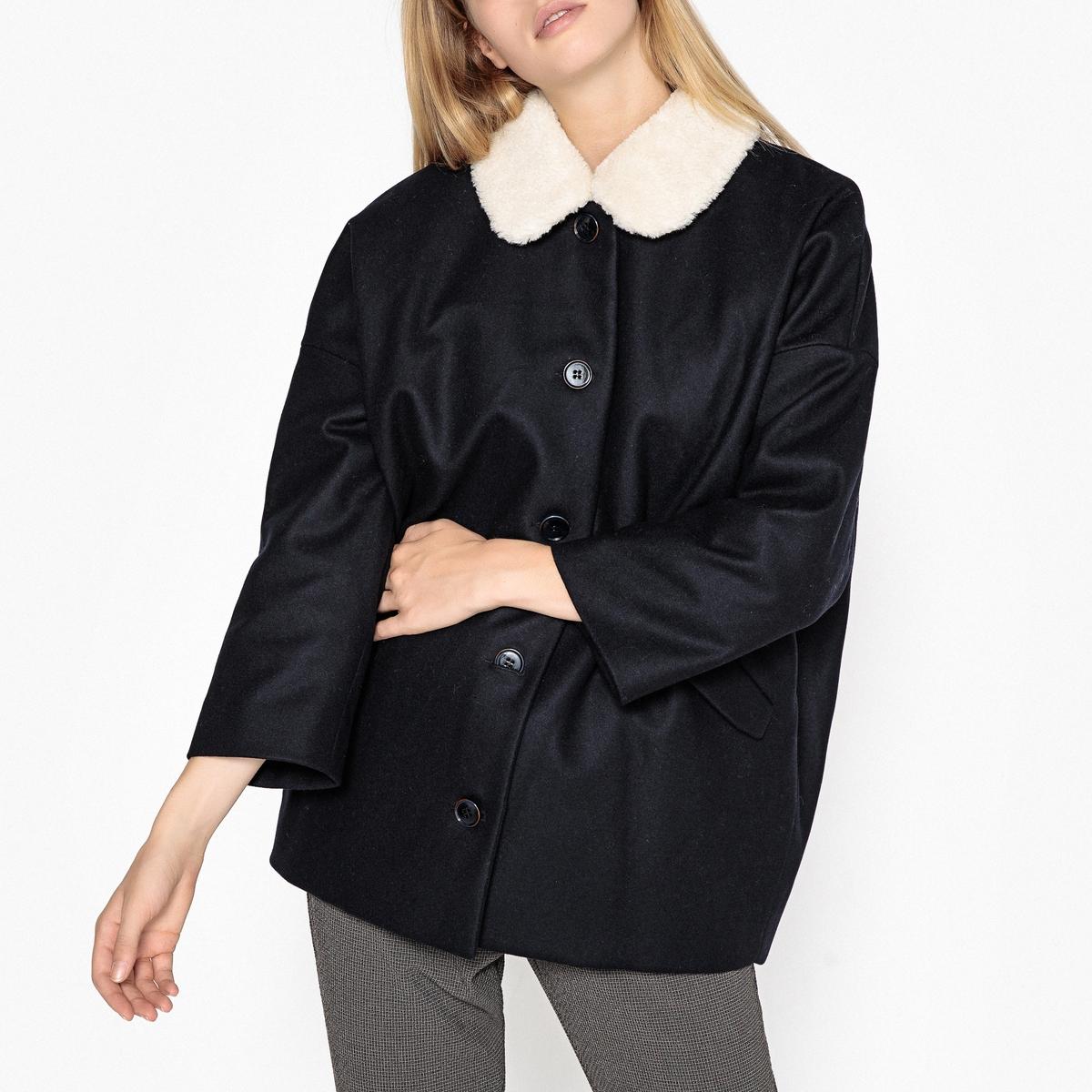 Пальто средней длины со съемным воротником ESTEFE