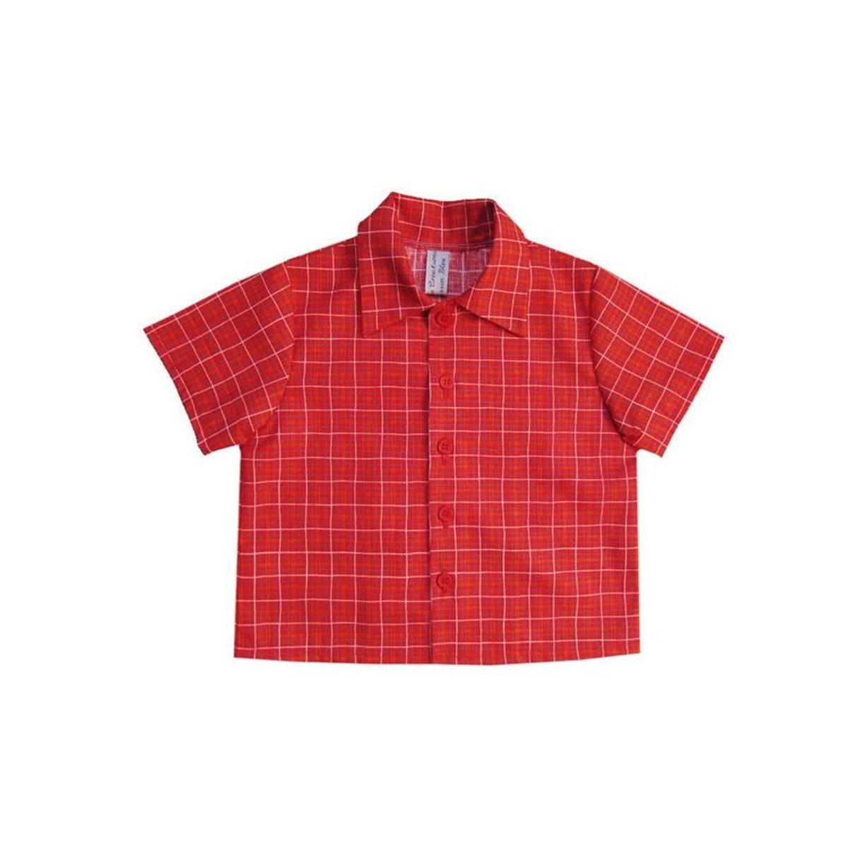 Chemise bébé garçon, manches courtes, rouge à carreaux