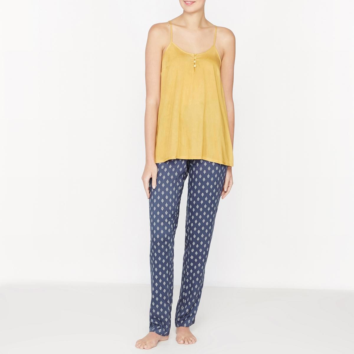 Пижама с топом на тонких бретелях