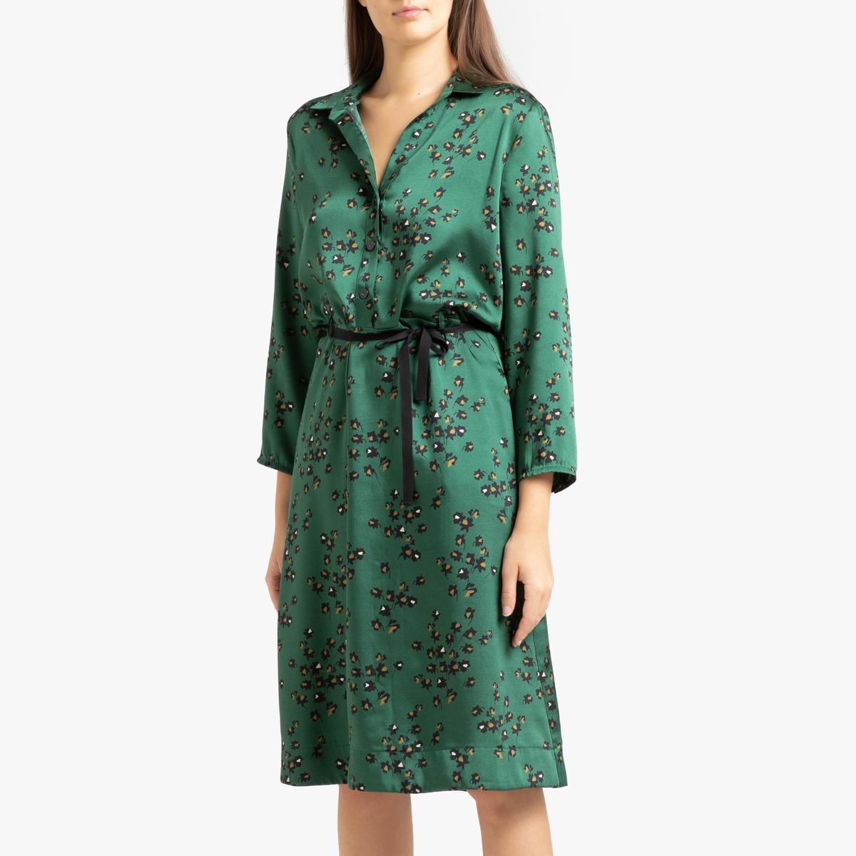 Платье La Redoute С рисунком и длинными рукавами VOLCAN M зеленый