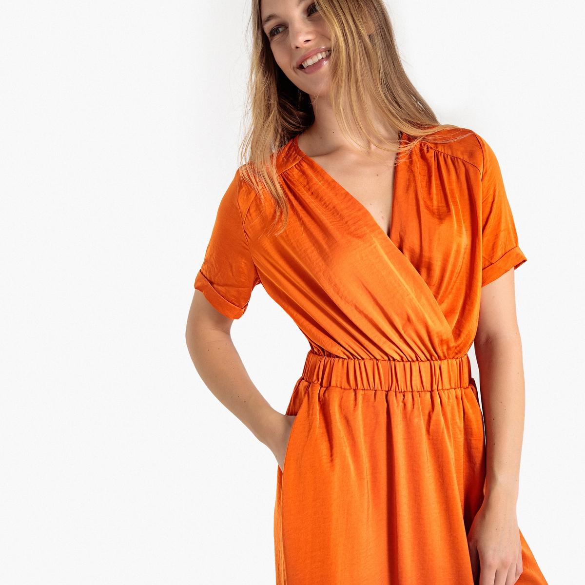 Платье La Redoute С запахом блестящим эффектом и эластичным поясом 36 (FR) - 42 (RUS) каштановый туфли la redoute на среднем каблуке с питоновым принтом 36 каштановый