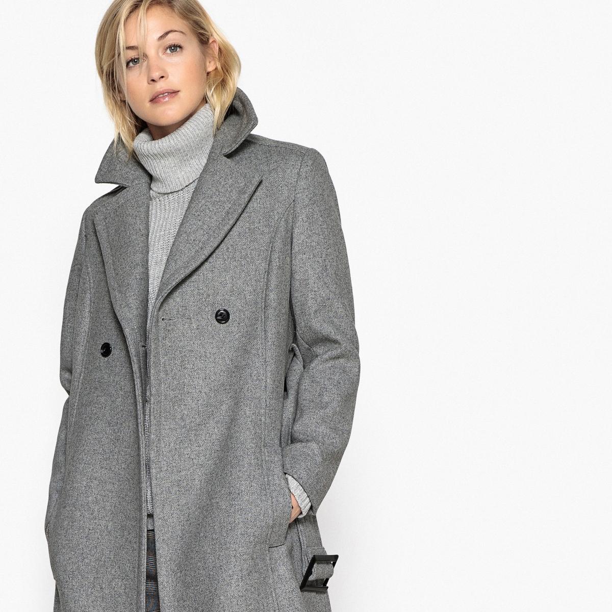 Пальто длинное с поясом пальто la biali пальто