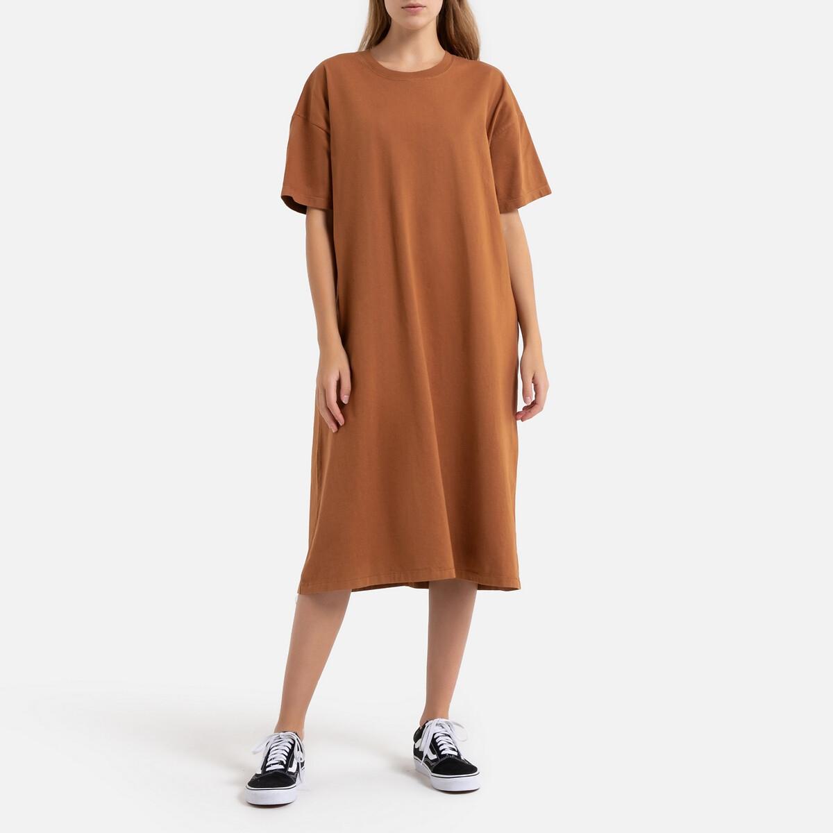 Платье-футболка La Redoute С короткими рукавами FIZVALLEY XS каштановый платье la redoute с запахом с короткими рукавами xs синий