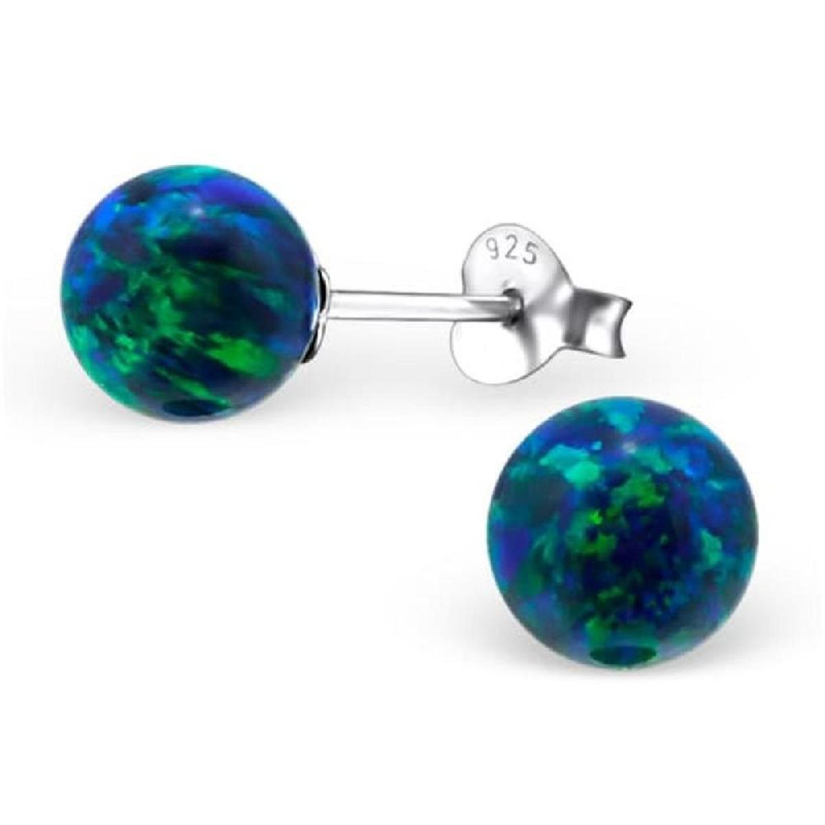 Boucles d'oreilles Created Opale 7 mm Boule Argent 925