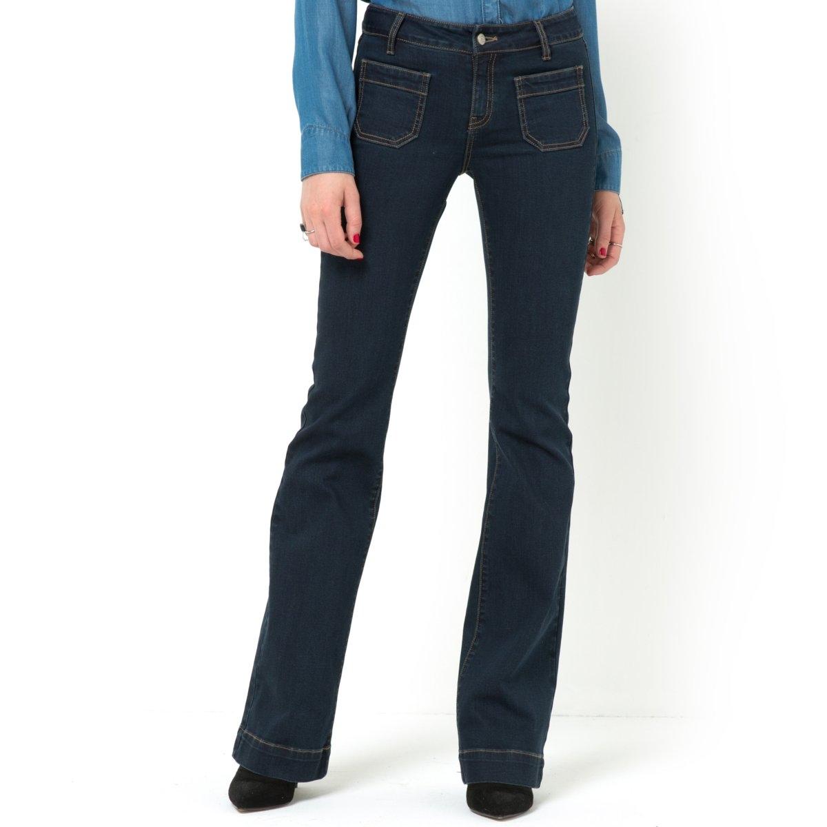 Джинсы расклешенные из денима стретчЭластомультиэстер - полиэстеровое волокно, добавляемое в деним для большего комфорта.Эластомультиэстер придает джинсам эластичность и способность долго сохранять форму.<br><br>Цвет: синий выбеленный,темно-синий<br>Размер: 44 (FR) - 50 (RUS)