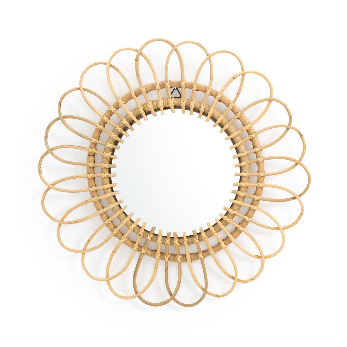 Зеркало LaRedoute Из ротанга в форме цветка 60 см Nogu единый размер бежевый