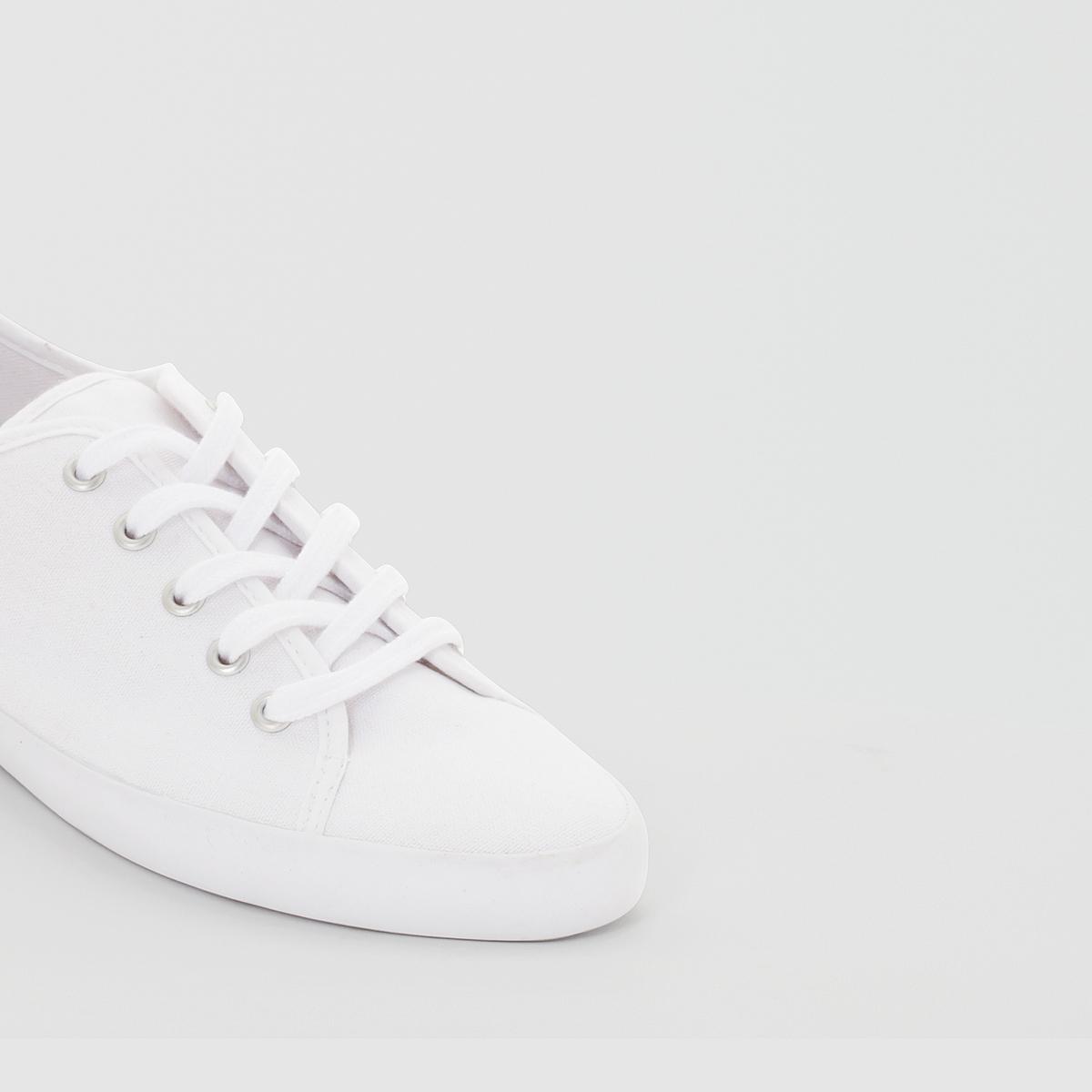 Кеды тканевыеОписание:Детали •  Спортивный стиль •  Плоский каблук •  Застежка : шнуровка •  Гладкая отделкаСостав и уход • Верх 100% хлопок •  Подкладка 100% хлопок •  Стелька 100% хлопок •  Подошва 100% эластомер<br><br>Цвет: белый<br>Размер: 36