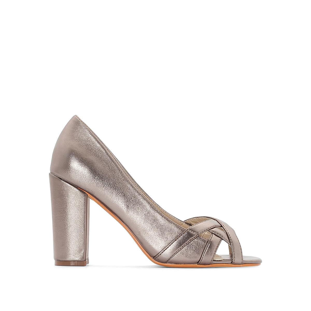 Zapatos de tacón metalizados, pie ancho, del 38 al 45