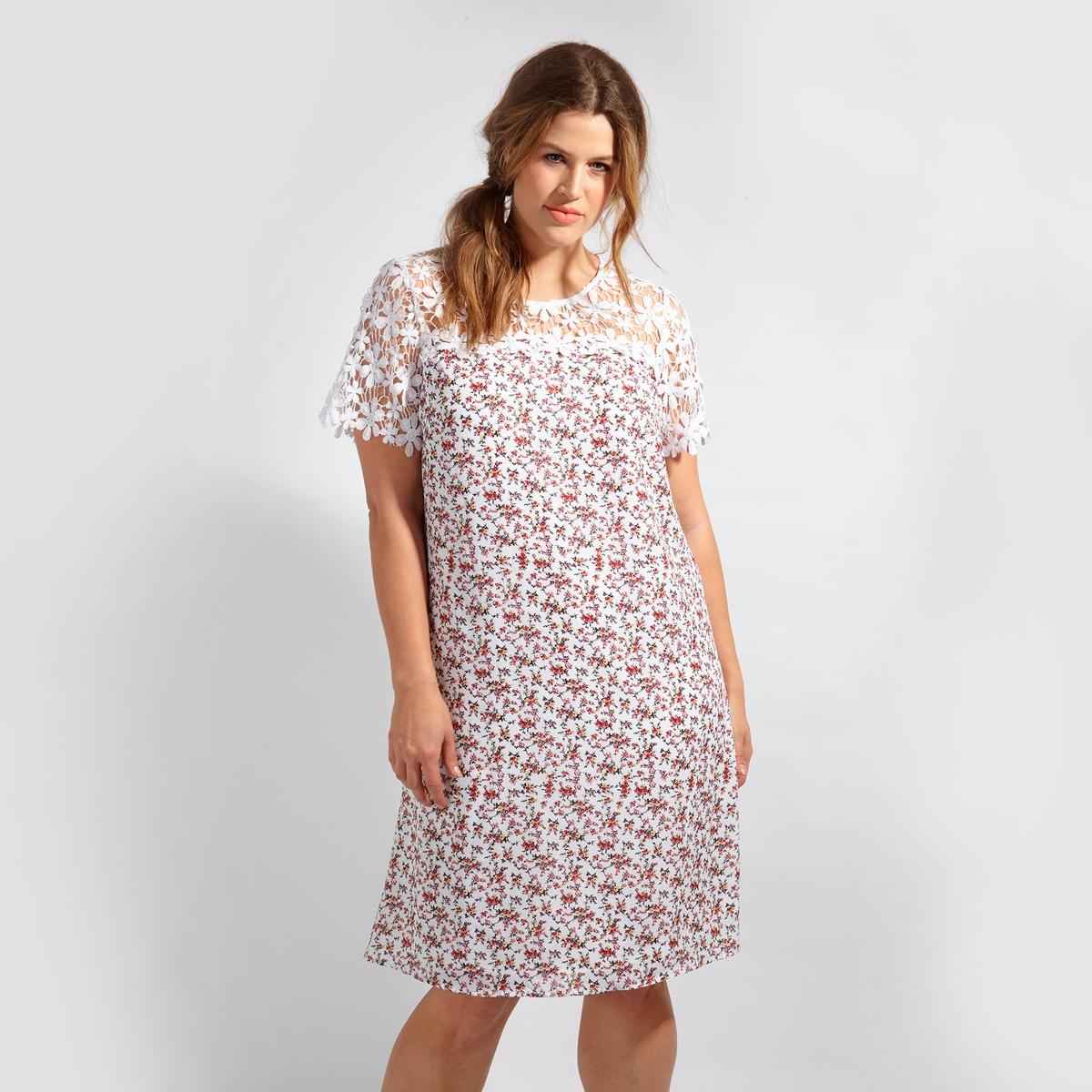 ПлатьеПлатье с короткими рукавами LOVEDROBE. Красивые кружевные вырез и рукава. 100% полиэстер<br><br>Цвет: набивной рисунок<br>Размер: 54/56 (FR) - 60/62 (RUS).48 (FR) - 54 (RUS)