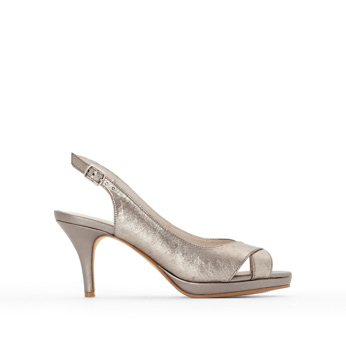 Туфли открытые с металлическим отливом из кожиОткрытые туфли от Anne Weyburn. Застежки на небольшие пряжки по бокам.Верх : невыделанная кожа.Подкладка : кожа.Стелька : Кожа на подкладке из пеноматериала.Подошва : эластомер.Высота каблука : 8 см.<br><br>Цвет: золотистый,серебристый<br>Размер: 38