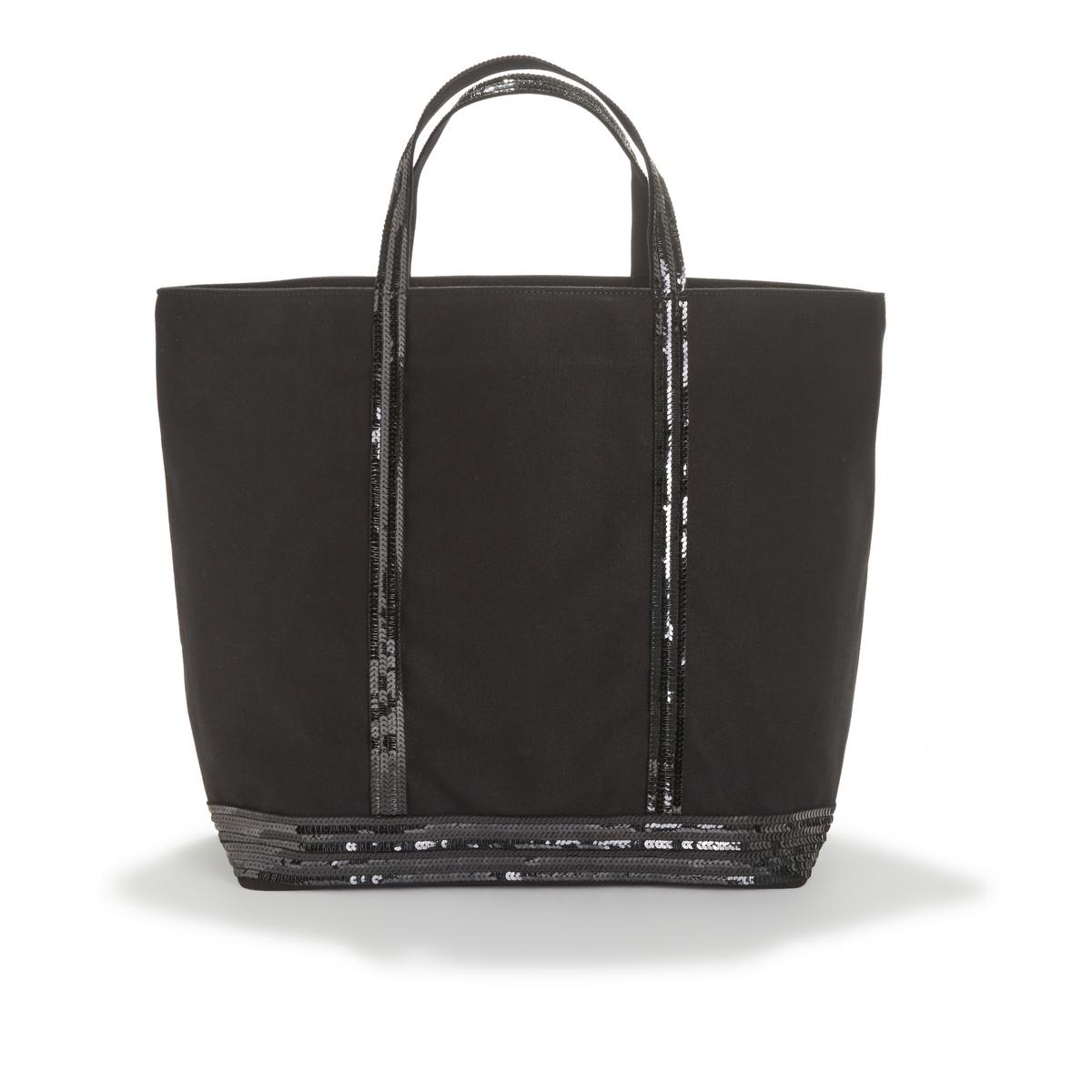 Фото - Сумка-шоппер La Redoute Большого размера из ткани с блестками единый размер черный сумка шоппер средняя из парусины с блестками