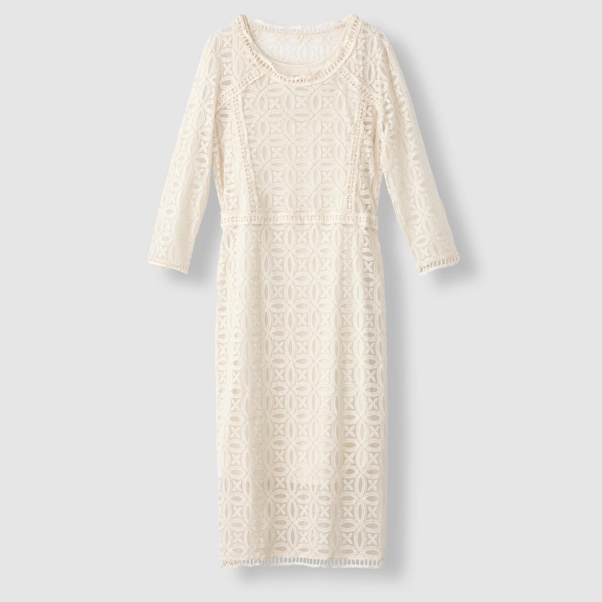 Платье из гипюра YukariПлатье Yukari от NUMPH. Прямой покрой. Рукава 3/4. Круглый вырез. Сплошной гипюр. Состав и описаниеМарка : NUMPHМодель : YukariМатериалы : 70% хлопка, 30% полиамидаУходМашинная стирка при 30 °C в деликатном режиме с вещами схожих цветов<br><br>Цвет: белый<br>Размер: 42 (FR) - 48 (RUS)