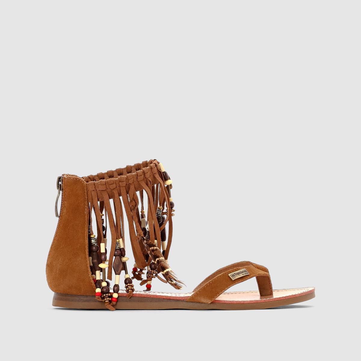 Сандалии плоские из кожи Gopak, с бахромой и бисеромСтильные плоские сандалии в спартанском стиле с отделкой бахромой, бисером и перьями вокруг щиколотки... Этим летом индейский дух в моде  !<br><br>Цвет: темно-бежевый,черный<br>Размер: 39.37