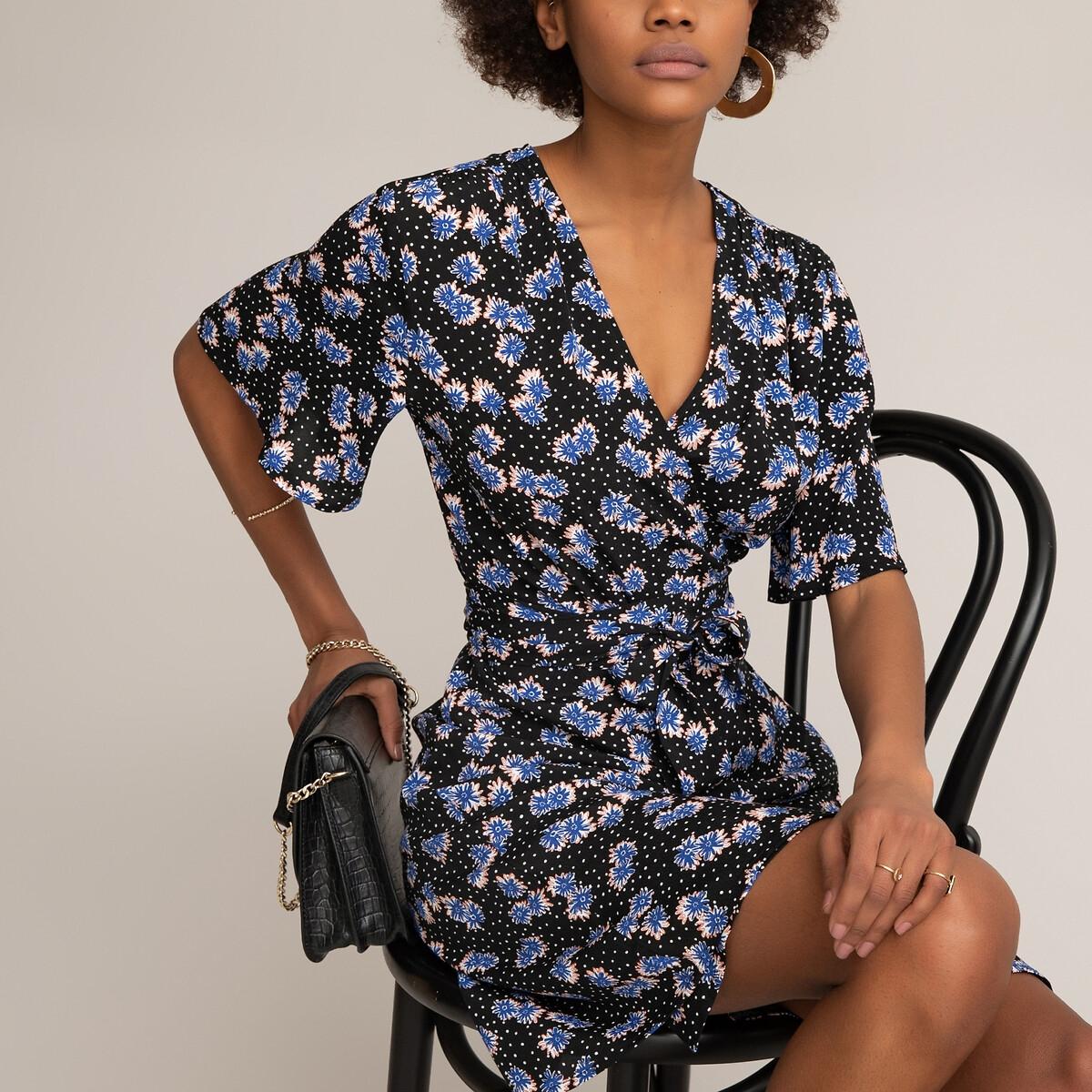 Фото - Платье LaRedoute С запахом с цветочным рисунком и короткими рукавами 40 (FR) - 46 (RUS) синий платье laredoute с запахом с рисунком 34 fr 40 rus синий