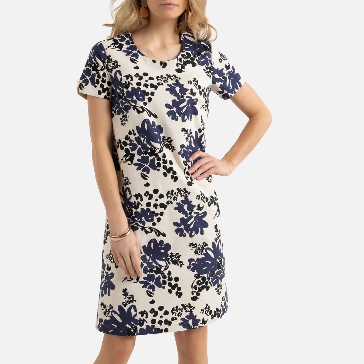 Платье La Redoute Прямое с цветочным принтом из смесового льна 42 (FR) - 48 (RUS) другие бермуды чино из смесового льна