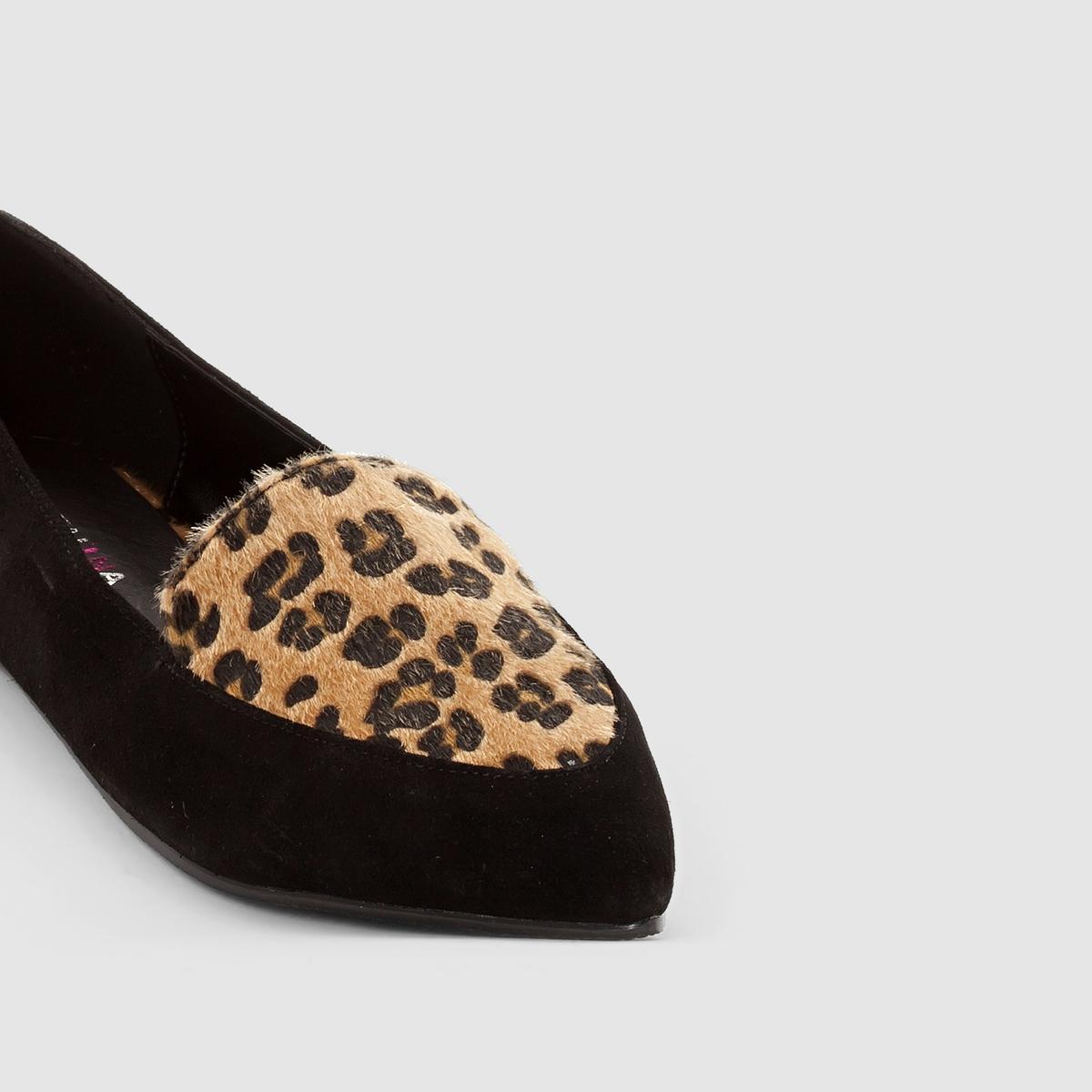 БалеткиМарка : CASTALUNAПодходит : для широкой стопы.Верх : искусственная замша и синтетика с леопардовым рисунком.Стелька : синтетикаПодошва : кожаПлоский каблук.Преимущества : модный леопардовый рисунок.<br><br>Цвет: черный/леопард<br>Размер: 43