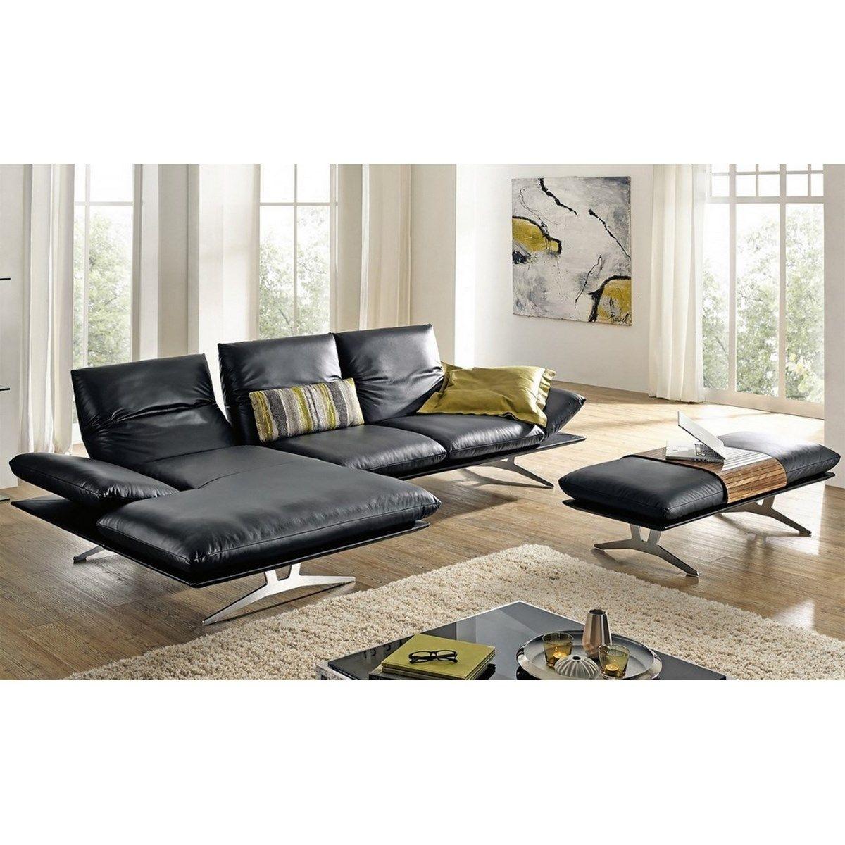 Canapé angle cuir noir AD SENSO 3 places avec chaise longue gauche