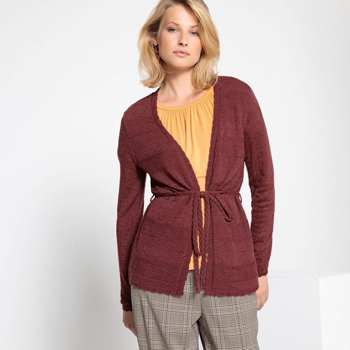 Imagen secundaria de producto de Chaqueta de punto abierta con cuello de pico - Anne weyburn