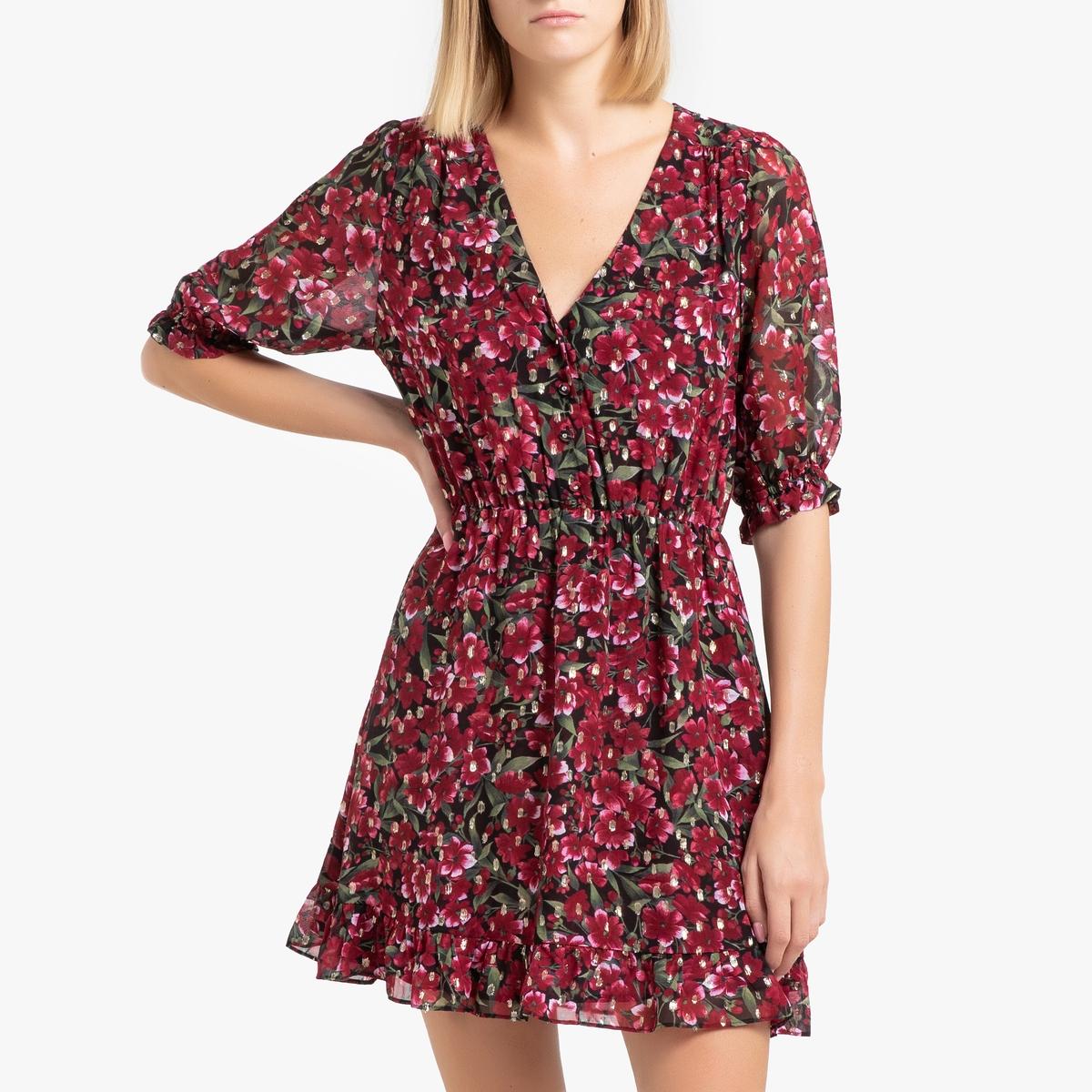 купить Платье La Redoute С рисунком и короткими рукавами 3(L) красный дешево