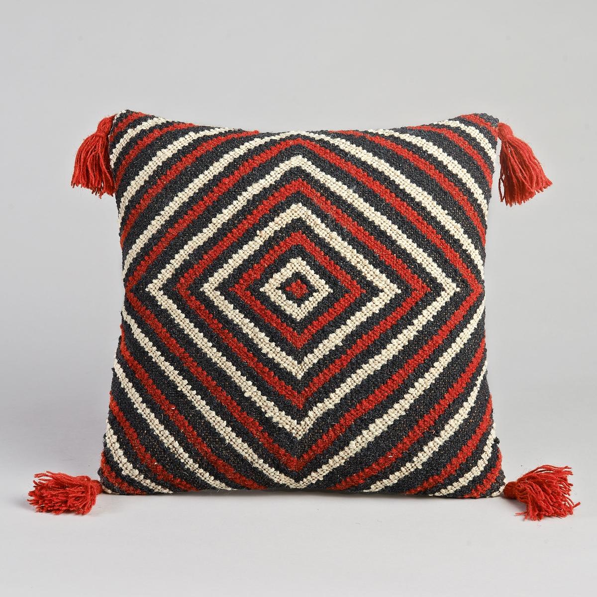 Чехол для подушки Kilim, HarcadЧехол для подушки Harcad. Рельефный материал с рисунком в виде красных, черных и белых лебедей. Отделка помпонами. Верх из 100% шерсти, спинка из канвы, 100% хлопок. Застёжка на скрытую молнию сзади. Размеры. : 45 x 45 см. Подушка продается отдельно.<br><br>Цвет: красный