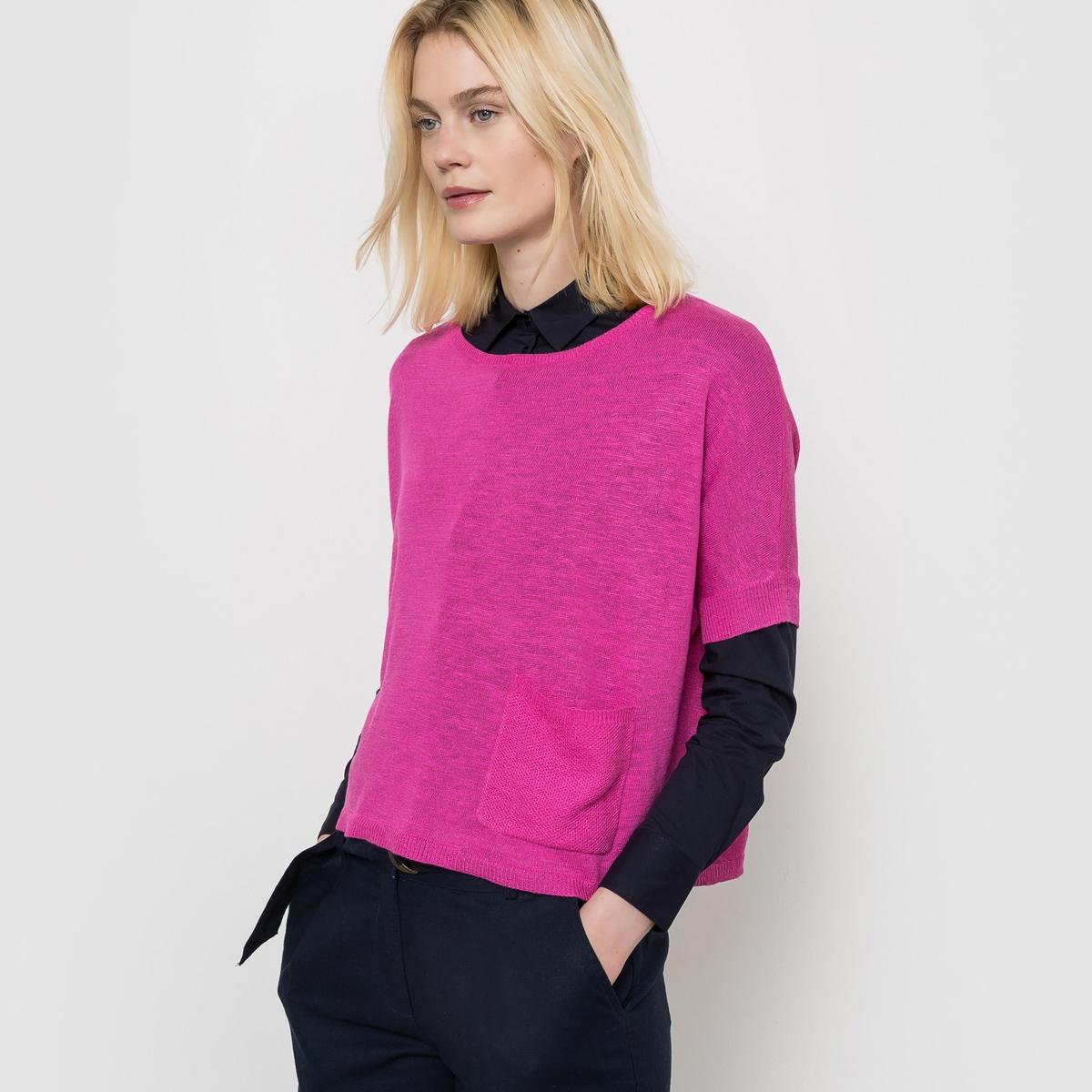 Пуловер с короткими рукавами из льна