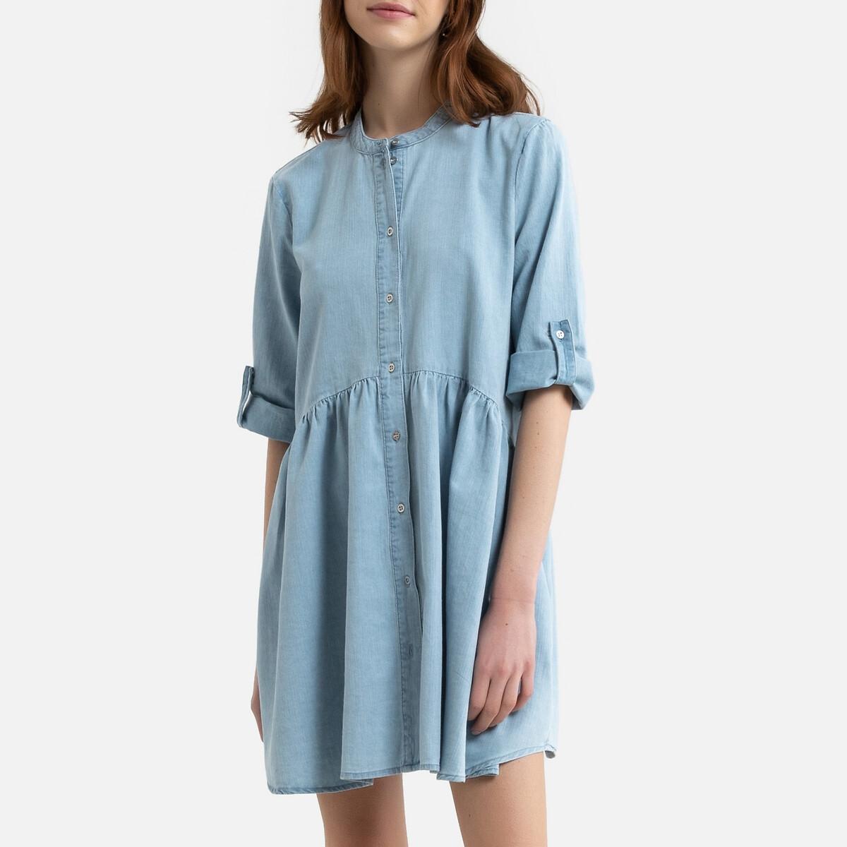 Платье-рубашка LaRedoute Из джинсовой ткани с воротником-стойкой и рукавами 34 XL синий
