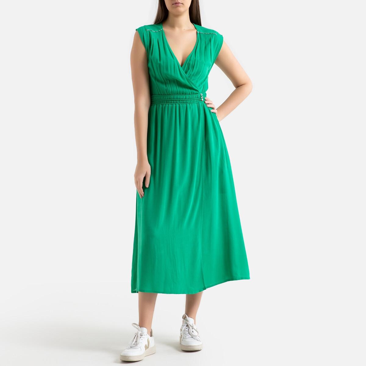 Платье La Redoute Длинное без рукавов CERES 0(XS) зеленый