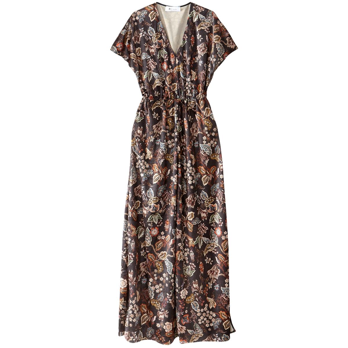 Платье длинное с рисунком и короткими рукавами