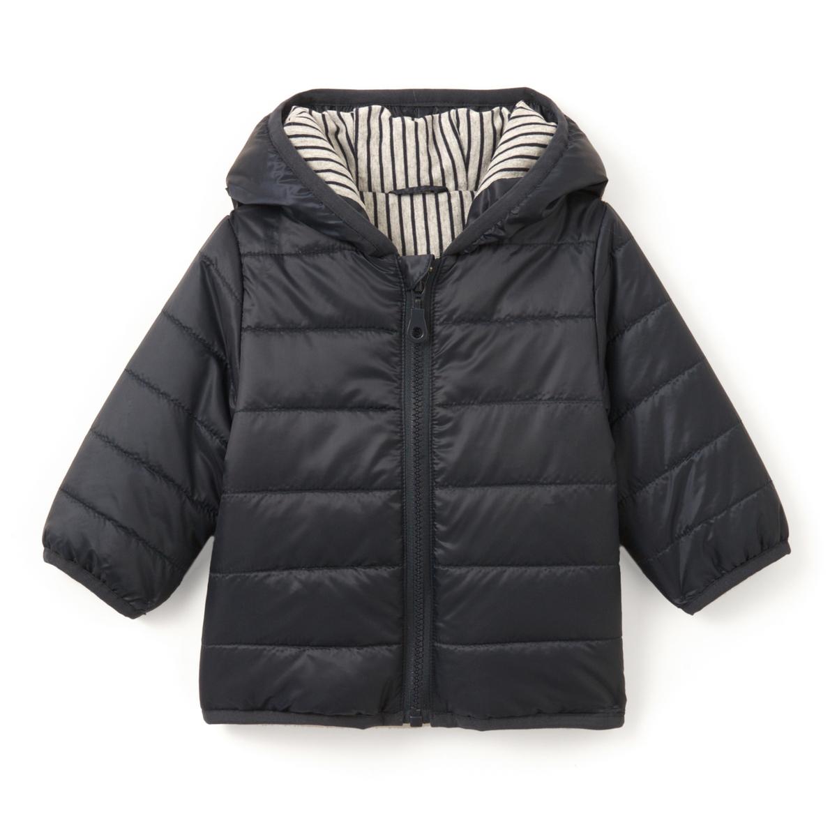 Куртка легкая с капюшоном, 1 мес. - 3 летЛегкая куртка с капюшоном на ватине, с водоотталкивающей пропиткой. Капюшон на подкладке из джерси в полоску. Застежка на молнию.Состав и описание :    Материал       100% полиэстер Подкладка    100% полиэстер Ватин   100% полиэстер  Уход: : Машинная стирка при 30 °C на умеренном режиме с вещами схожих цветов. Машинная сушка запрещена. Не гладить.<br><br>Цвет: синий морской<br>Размер: 3 года - 94 см.2 года - 86 см.18 мес. - 81 см.1 год - 74 см.9 мес. - 71 см.6 мес. - 67 см.3 мес. - 60 см