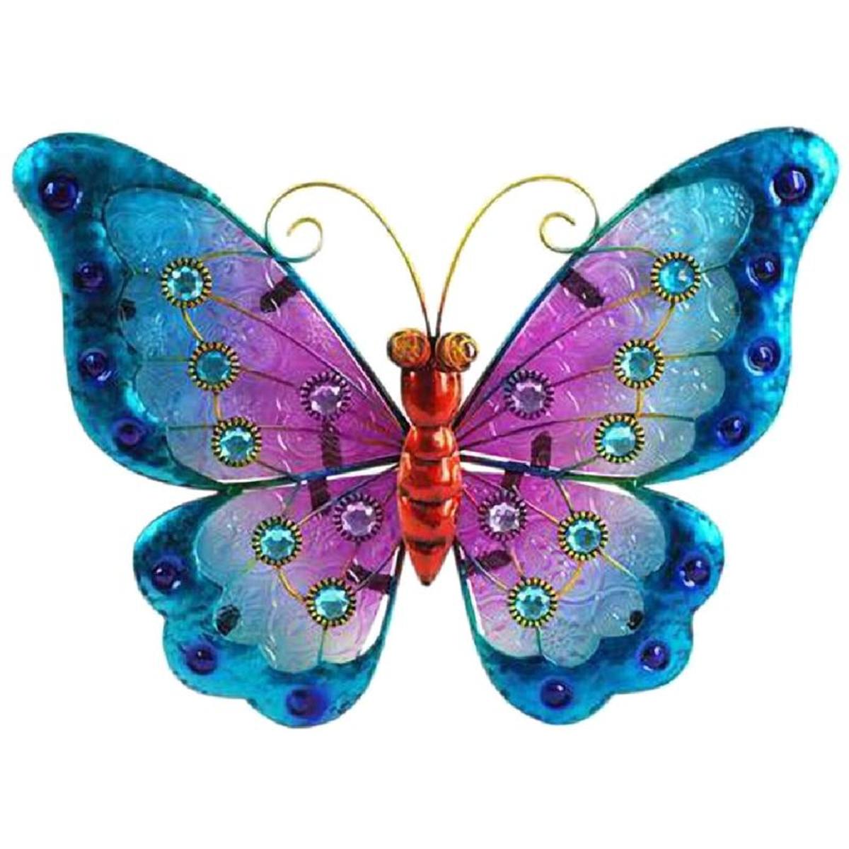 Papillon déco murale 21 x 24 cm - modèle Bleu