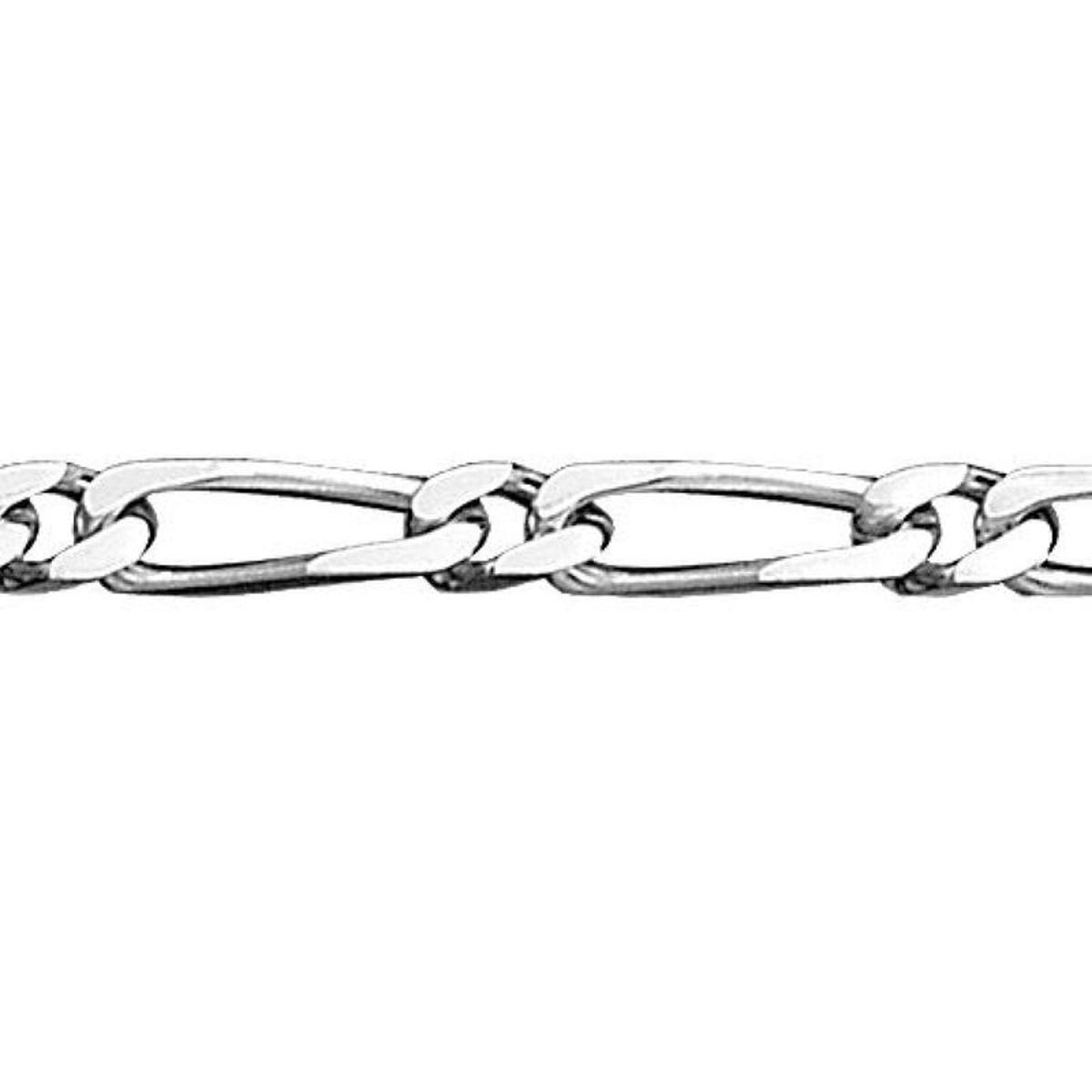 Bracelet 21 cm Maille 1 + 1 Largeur 5 mm Argent 925