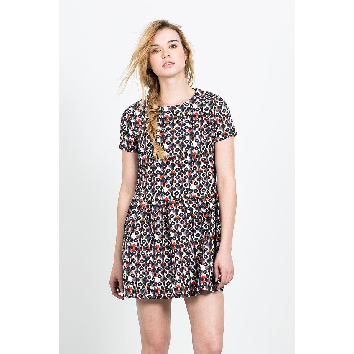 Короткое расклешённое платье с короткими рукавами AZTECA SKIRT lace insert fitted faux leather skirt