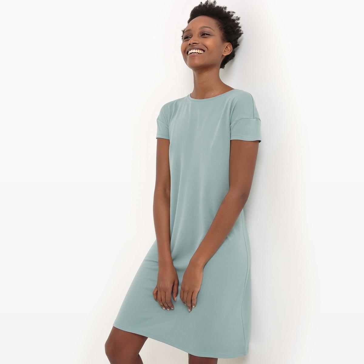 Платье-трапеция с короткими рукавами из модалаМатериал : 70% модала, 30% полиэстера  Длина рукава : короткие рукава  Форма воротника : круглый вырез Покрой платья : платье прямого покроя      Рисунок : однотонная модель   Длина платья : короткое<br><br>Цвет: антрацит,зеленый<br>Размер: XS.XS