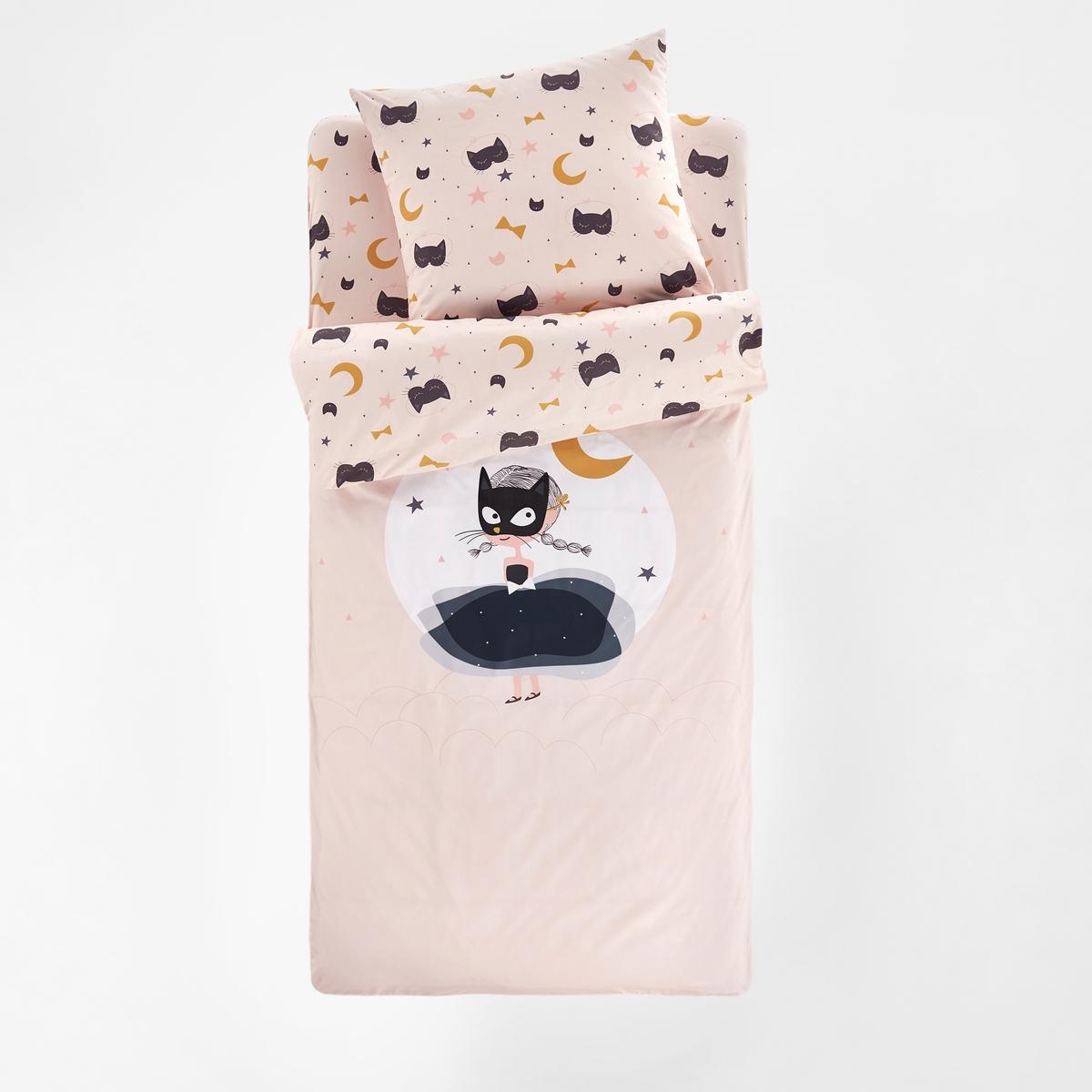Комплект постельного белья с одеялом La Redoute CAT OPERA 90 x 190 см розовый наволочка la redoute из хлопка urban graph 63 x 63 см серый