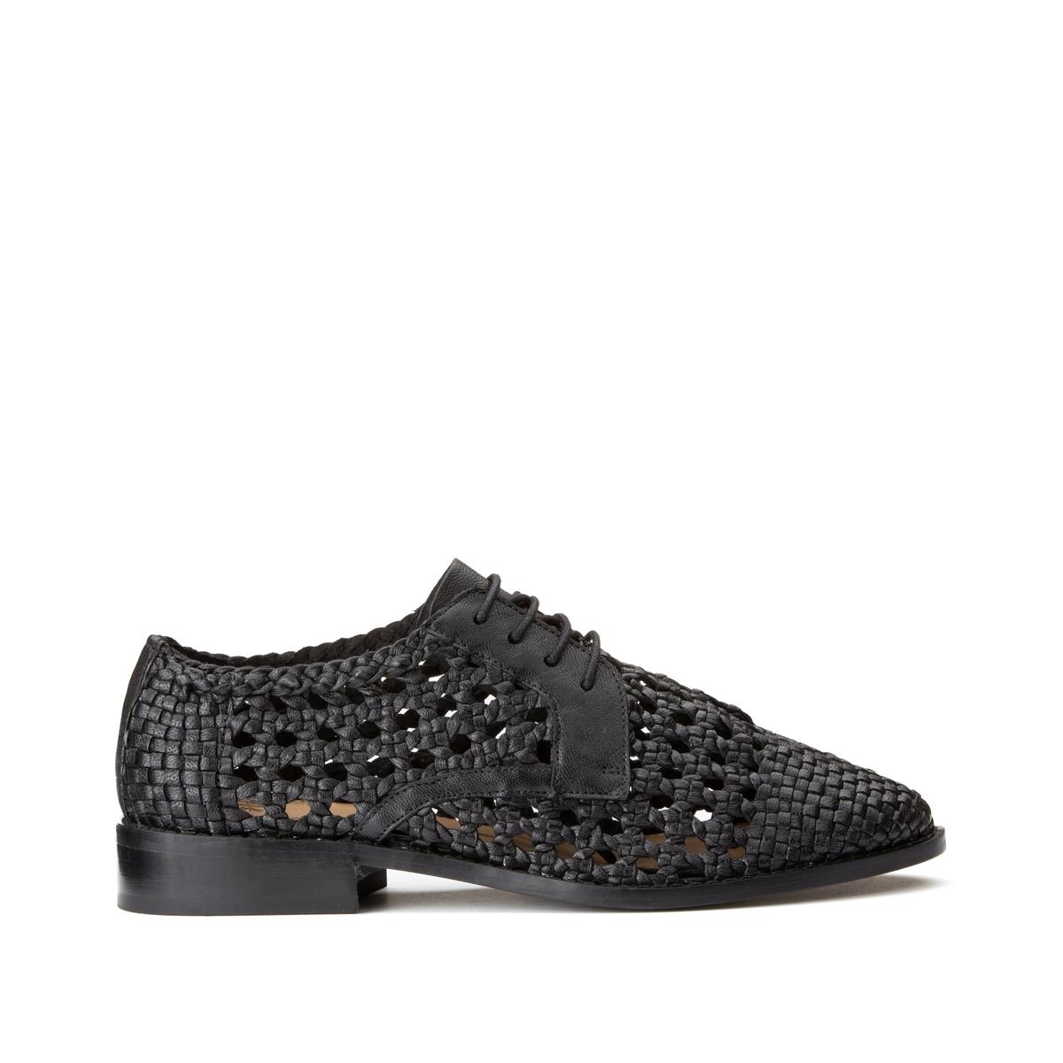 Ботинки-дерби LaRedoute Кожаные ажурные на шнуровке 38 черный