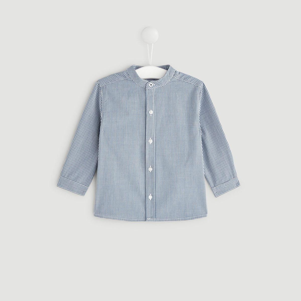 Chemise à carreaux col mao OEKOTEX