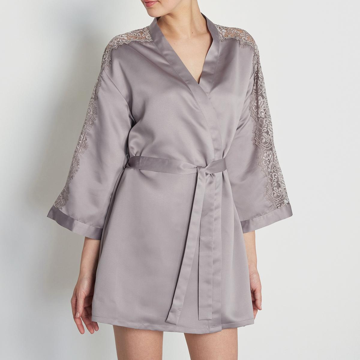 LOUISE MARNAY Халат-кимоно из атласа и кружева