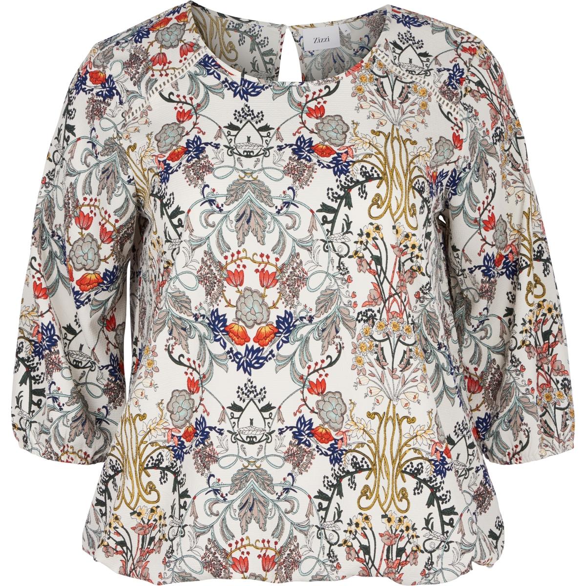 Блузка ZIZZIБлузка ZIZZI. Блузка с рисунком. Рукава 3/4. 98% полиэстера, 2% эластана.<br><br>Цвет: рисунок/белый<br>Размер: 50/52 (FR) - 56/58 (RUS)