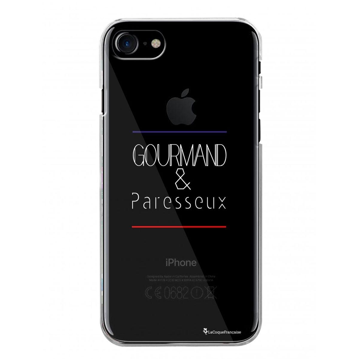Coque iPhone 7 iPhone 8 rigide transparente, Gourmand et paresseux BLANC, La Coque Francaise®