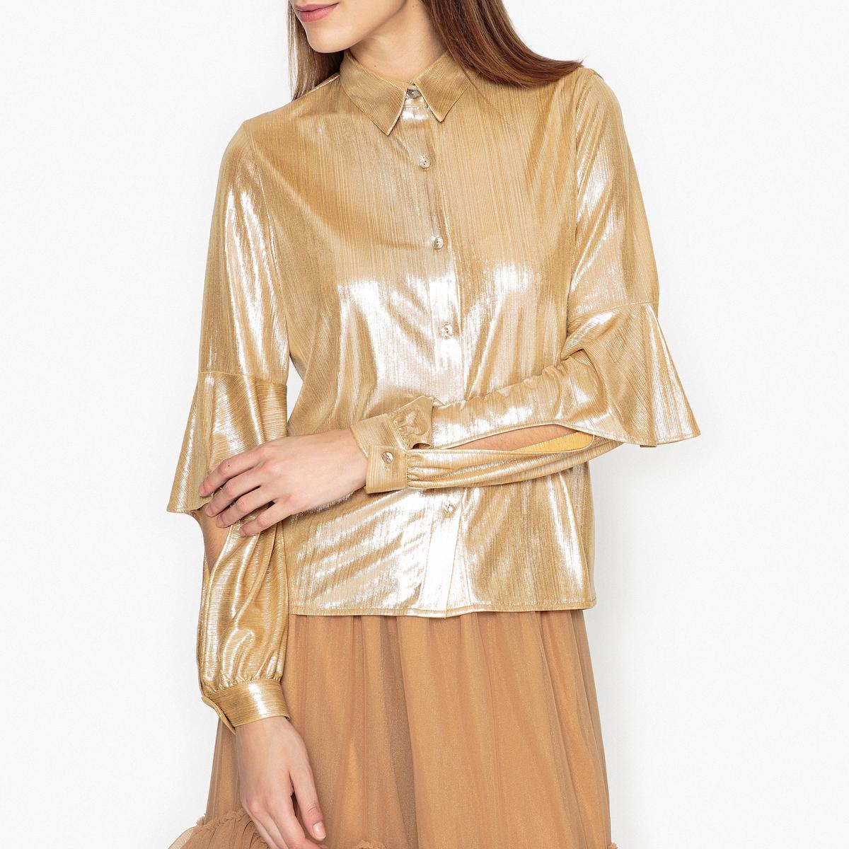 Рубашка струящаясяСостав и описание :  Основной материал      100% полиэстер   Марка                       SISTER JANE<br><br>Цвет: золотистый
