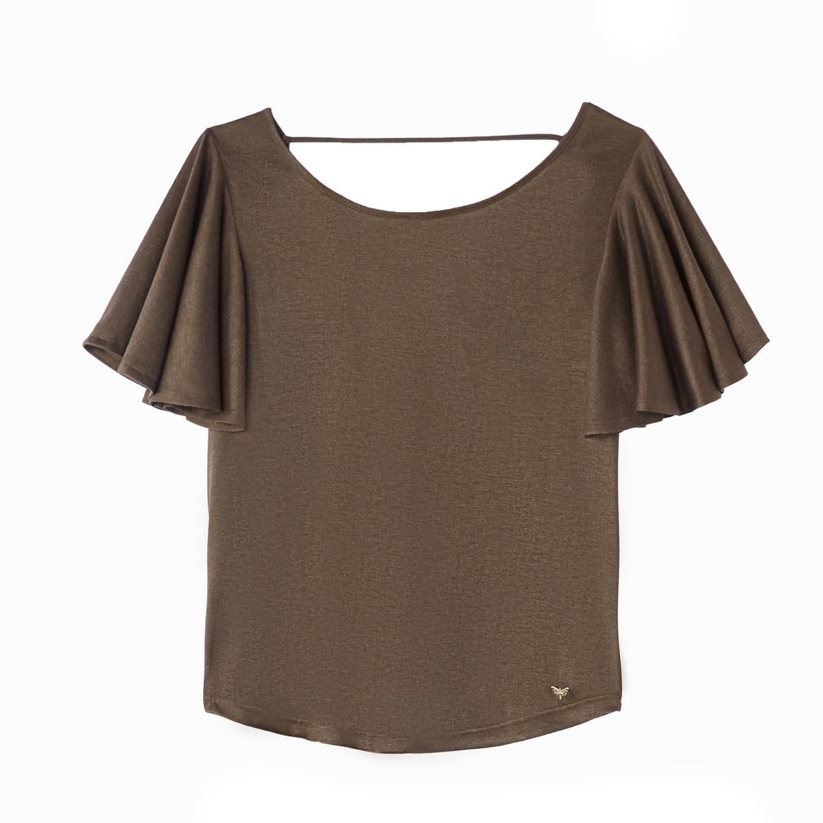 T-shirt de gola redonda, mangas curtas evasés