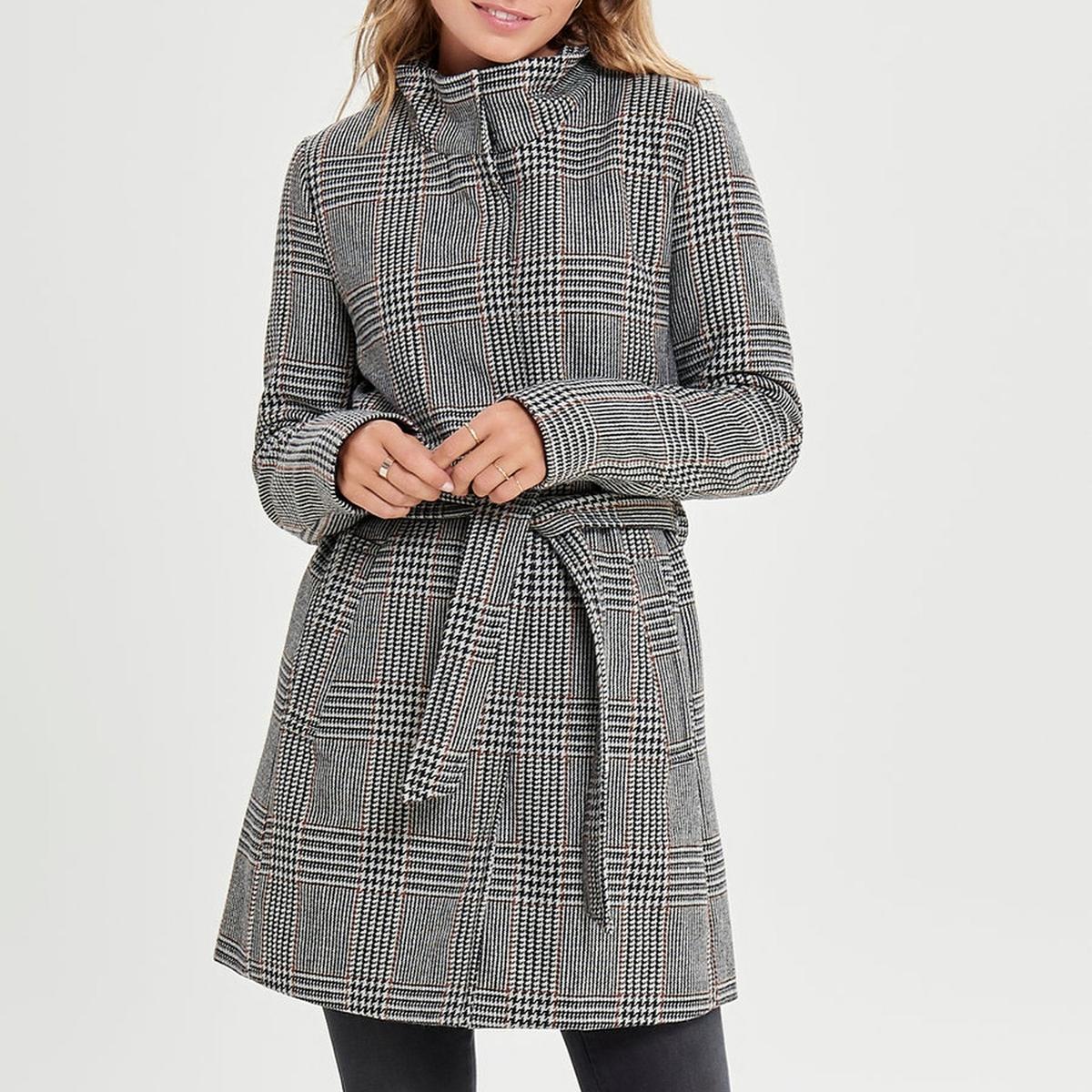 Пальто со стоячим воротником и принтом в клетку
