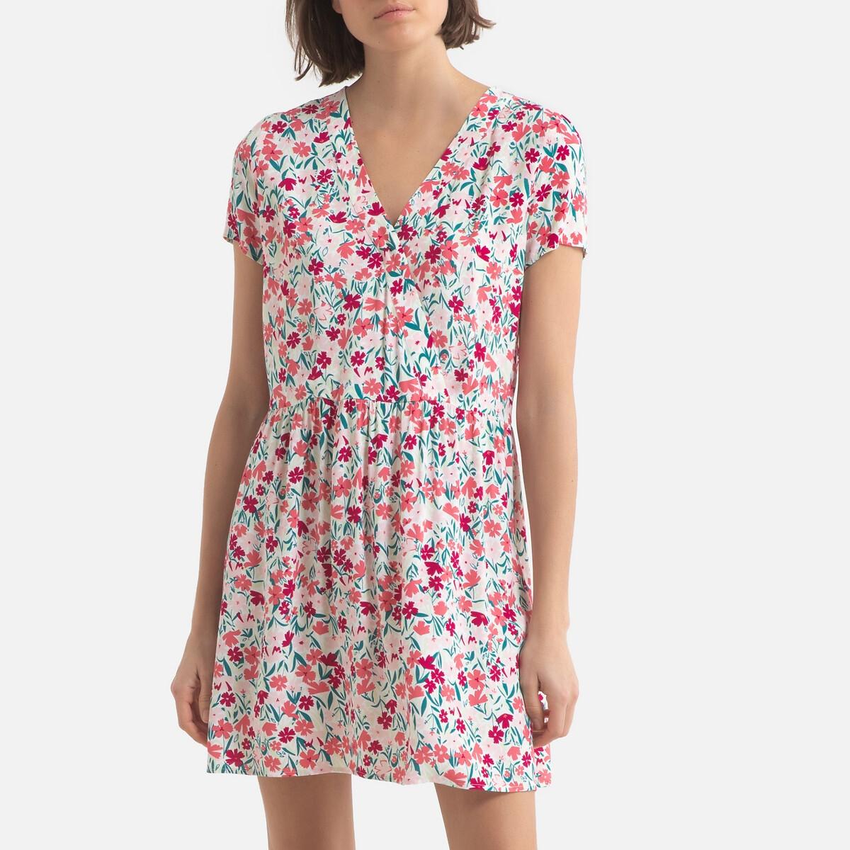Платье LaRedoute С принтом короткое с короткими рукавами 2(M) розовый футболка laredoute из биохлопка с короткими рукавами vegiflower m зеленый