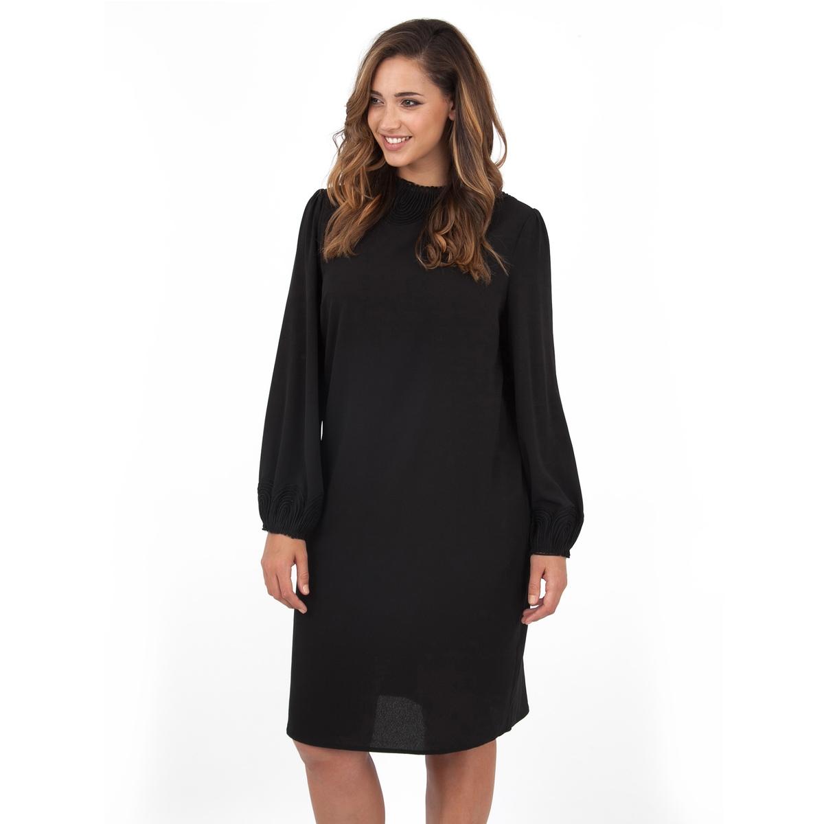 ПлатьеПлатье с длинными рукавами - LOVEDROBE. Отделка выреза и манжет изящным  кружевом. Длина ок.104 см. 100% полиэстера.<br><br>Цвет: черный<br>Размер: 58/60 (FR) - 64/66 (RUS)