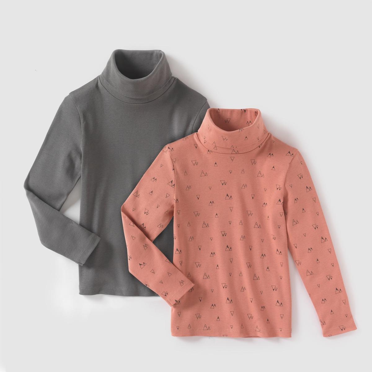 Комплект из 2 тонких пуловеров с длинными рукавами, 3-12 летТонкие пуловеры с длинными рукавами и высоким закатывающимся воротником. Комплект из 2 штук : 1 однотонный + 1 с рисунком горы в графическом стиле. Состав и описание : Материал: джерси, 100% хлопкаМарка R ?dition  Уход : Машинная стирка при 30° с одеждой подобных цветов  .Стирка и глажка с изнаночной стороны.Сушить в машине при умеренном режиме.Гладить при умеренной температуре.<br><br>Цвет: рисунок + розовый