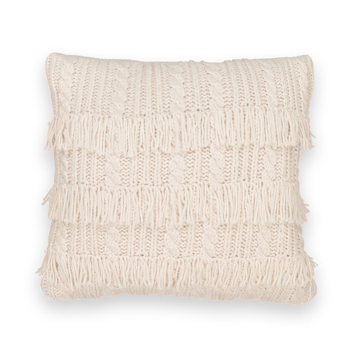 Чехол на подушку трикотажный с бахромой, LOPIK