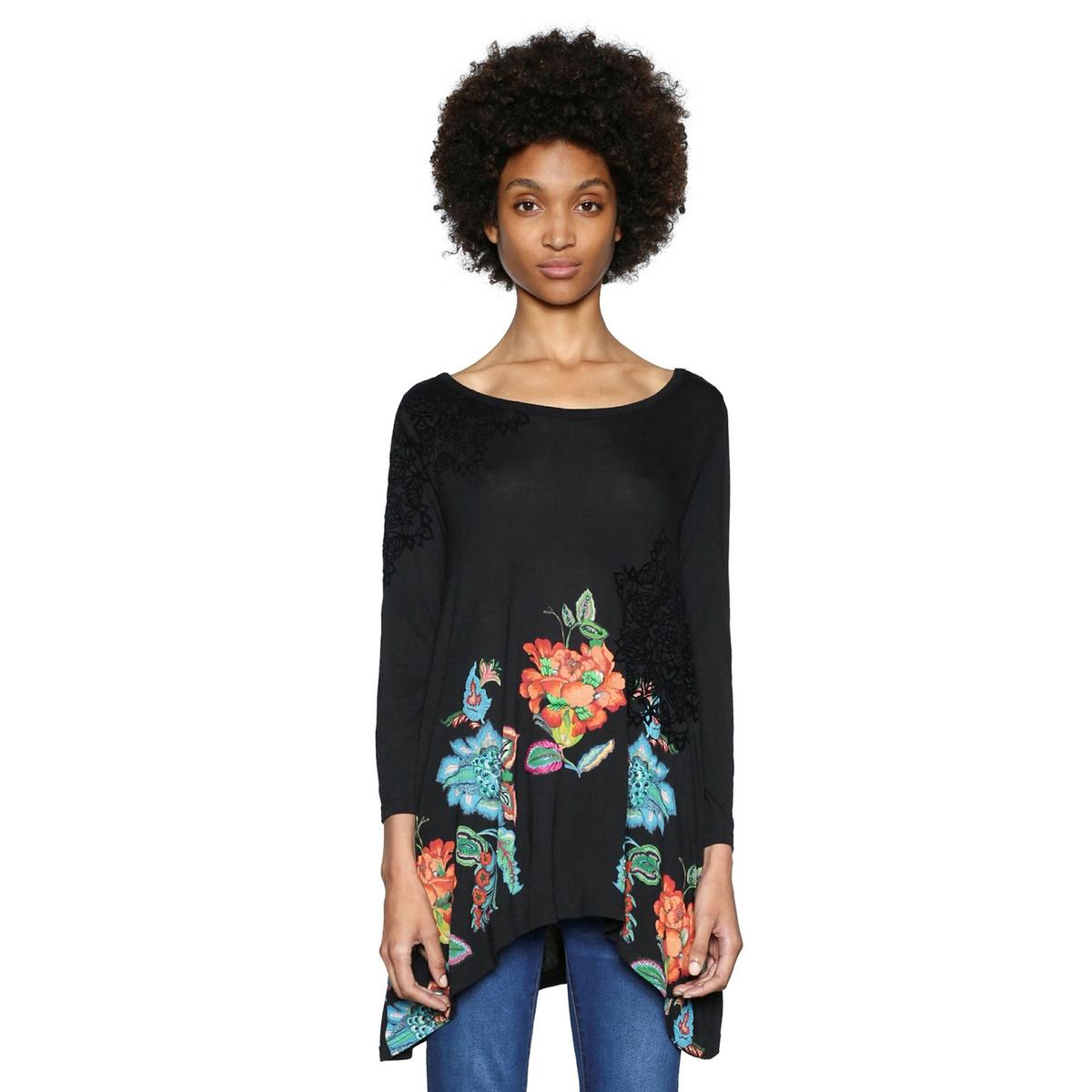 Camiseta con cuello redondo y estampado de flores, de manga larga