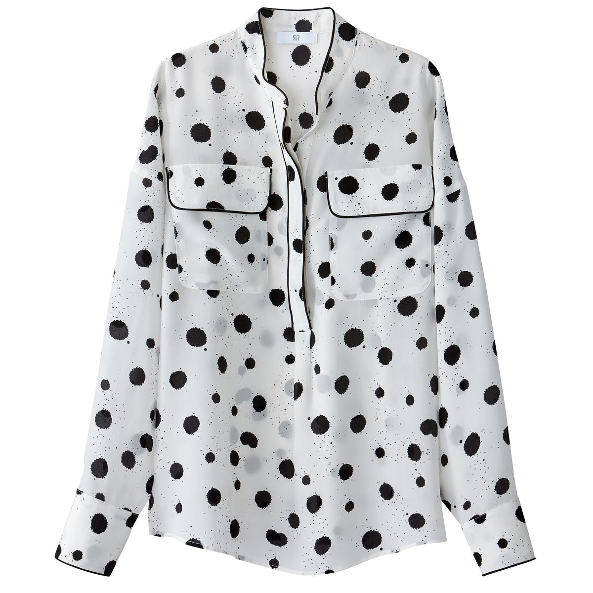 Blusa de seda de manga larga con cuello mao